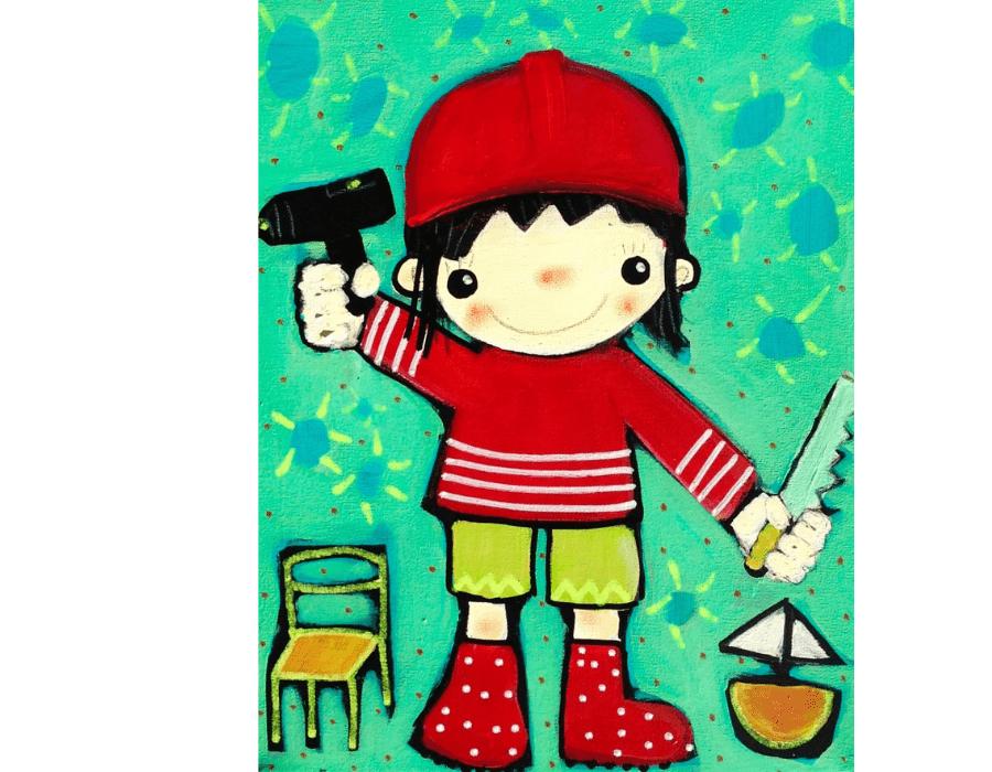 Postkarte Handwerker Kinder