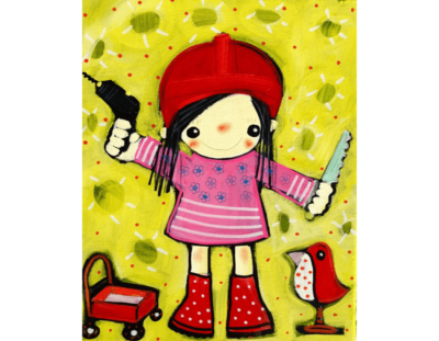 Postkarte Kinderhandwerkerin